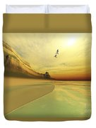 Seagulls Fly Near The Mountains Of This Duvet Cover by Corey Ford