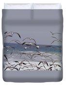 Seagulls Fly Over Surf Duvet Cover