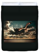 Seagulls In A Grunge Style Duvet Cover by Meirion Matthias