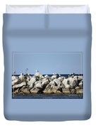 Seaguls On Boulders In Lake Erie Duvet Cover