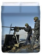 Seaman Fires A .50 Caliber Machine Gun Duvet Cover