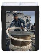 Seaman Runs A Mooring Line Duvet Cover