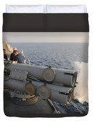Seamen Fire An Air Slug From A Mk-32 Duvet Cover