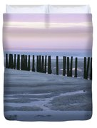 Seascape At Dusk With Pillars In Duvet Cover