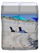seashore 82 Beach Chairs Beach Umbrella and Tire Treads in Sand Duvet Cover