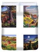 seasonal farm country folk art-set of 4 farms prints amricana American Americana print series Duvet Cover
