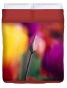 Selective Focus Tulip Flower Field Duvet Cover