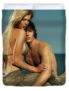 Sensual Portrait Of A Young Couple On The Beach Duvet Cover