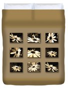 Sepia Daisy Flower Series Duvet Cover by Sumit Mehndiratta