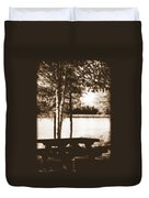 Sepia Picnic Table Duvet Cover