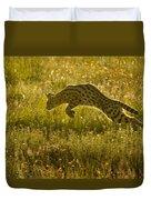 Serval Cat Pouncing Serengeti Duvet Cover