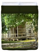 Settlers Cabin And Crosstie Fence 4 Duvet Cover