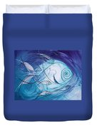 Seven Ichthus And A Heart Duvet Cover by J Vincent Scarpace