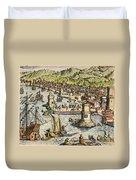 Seville: Departure, 1594. /ndeparture For The New World From Sanlucar De Barrameda, The Port Of Seville, Spain. Line Engraving, 1594, By Theodor De Bry Duvet Cover