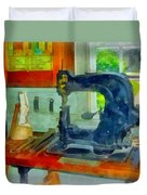 Sewing Machine In Harness Room Duvet Cover