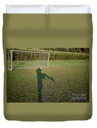 Shadow From A Football Player Duvet Cover