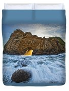 Shaft Of Sunlight Through Hole In Rock Duvet Cover by Robert Postma