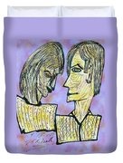 She And He Pen And Ink 2000 Digital Duvet Cover