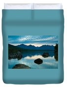 Sheep Clouds Above  A Lake  Duvet Cover