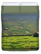 Sheep Graze In A Pasture In Swaledale Duvet Cover