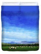 Sheep Grazing In Field County Wicklow Duvet Cover