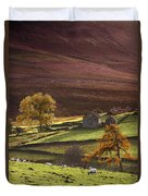 Sheep On A Hill, North Yorkshire Duvet Cover