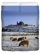 Sheep On A Snow Covered Landscape In Duvet Cover