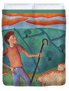 Shepherd Boy Detail Of Red Sky At Night Duvet Cover
