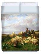 Shepherdess Resting With Her Flock Duvet Cover by Edmond Jean-Baptiste Tschaggeny