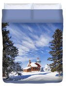 Sherwood Point Lighthouse And New Snow -  - D001650 Duvet Cover