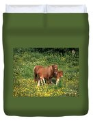 Shetland Pony With Foal Twins Duvet Cover