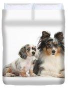 Shetland Sheepdog And Dachshund Puppy Duvet Cover