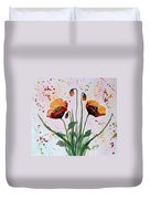 Shining Red Poppies Watercolor Painting Duvet Cover
