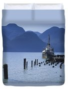 Shipping Freighter In Squamish British Columbia No.0201 Duvet Cover