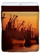 Shipping Freighters At Sunset Duvet Cover