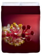 Showy Tropical Vibrant Red Hibiscus Pistil Duvet Cover
