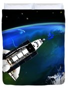 Shuttle On Orbit Duvet Cover