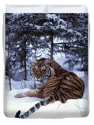 Siberian Tiger Lying On Mound Of Snow Duvet Cover