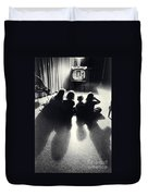 Siblings Watch Television Duvet Cover