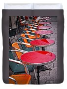 Sidewalk Cafe In Paris Duvet Cover by Elena Elisseeva