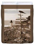 Sign At Point Montara Lighthouse - Sepia Duvet Cover