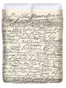 Signatures Attached To The American Declaration Of Independence Of 1776 Duvet Cover