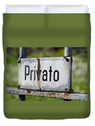 Signboard In Italian Privato Duvet Cover