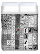 Signs Black And White Duvet Cover