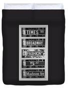 Signs Of New York In Black And White Duvet Cover by Rob Hans
