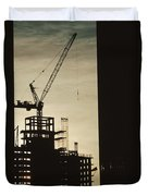 Silhouette Crane At A Skyscraper Duvet Cover