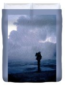 Silhouette In The Fog Duvet Cover