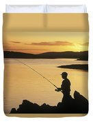 Silhouette Of A Fisherman Fishing On Duvet Cover