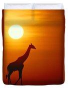 Silhouette Of A Giraffe At Sunrise Duvet Cover