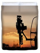 Silhouette Of A M240g Medium Machine Duvet Cover by Terry Moore